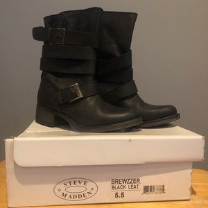 NEW Steve Madden Leather Booties Never Worn